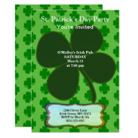 St. Patrick's Day Party Four Leaf Clover & Pattern Invitation