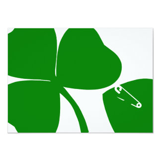 """St Patrick's Day Party - Get Lucky 3+1 = 4 4.5"""" X 6.25"""" Invitation Card"""