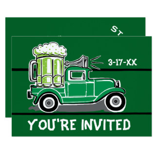 St Patrick's Day Party Green Beer Truck Invitation