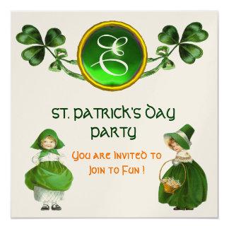 ST. PATRICK'S DAY PARTY GREEN EMERALD MONOGRAM 5.25X5.25 SQUARE PAPER INVITATION CARD