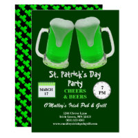 St Patrick's Day Party Green Frosty Cheers Invitation