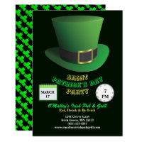 St Patrick's Day Party Green Hat & Shamrocks Invitation