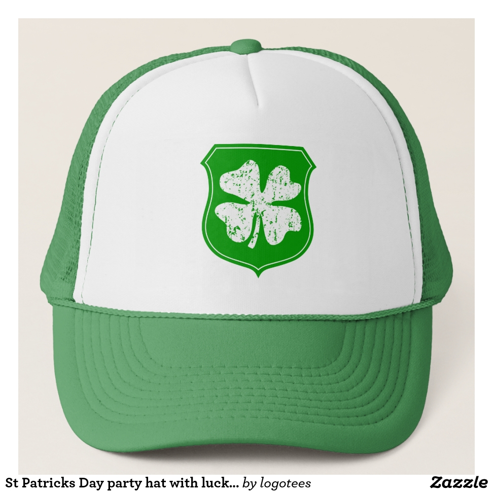 St Patricks Day party hat with lucky shamrock logo - Stylish Customizable  Fashion Trucker Hats 2203b75f3fe1