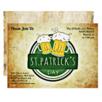 St Patrick's Day Party Irish Brew Retro Parchment Invitation