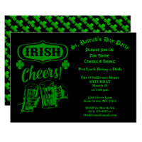 St Patrick's Day Party Irish Cheers Pot Luck Invitation