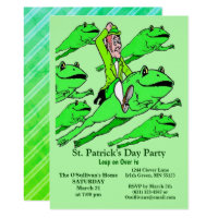 St. Patrick's Day Party Irishman Riding a Frog Invitation