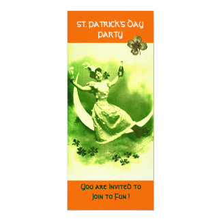 ST.PATRICK'S DAY PARTY MOON LADY WITH SHAMROCKS 4X9.25 PAPER INVITATION CARD