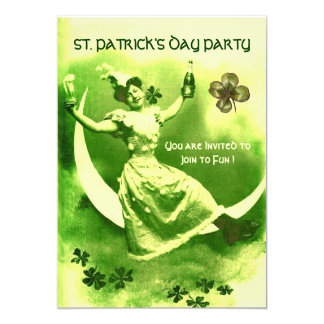 ST.PATRICK'S DAY PARTY MOON LADY WITH SHAMROCKS CARD