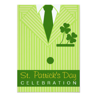 St Patrick's Day Party Pinstripe Suit & Tie Invite