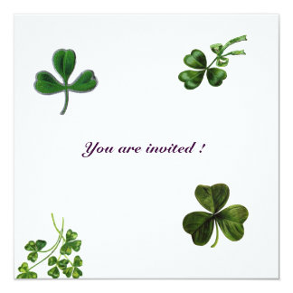ST PATRICK'S DAY PARTY shamrock white green Card