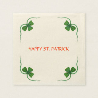 ST PATRICK'S DAY PARTY shamrock white green Paper Napkin