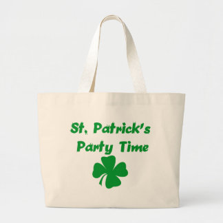 St Patrick's Day Party Time Large Tote Bag