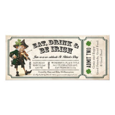 St. Patrick's Day Party Vintage Ticket Invitations at Zazzle