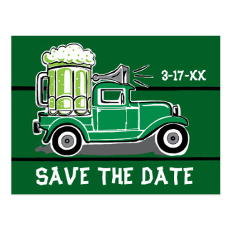 St Patrick's Day Party Vintage Truck Save the Date Postcard