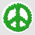 St Patrick's Day Peace Sign Classic Round Sticker