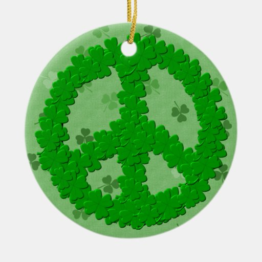 St Patrick's Day Peace Sign Double-Sided Ceramic Round Christmas Ornament
