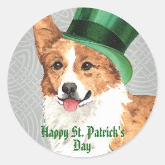 St. Patrick's Day Pembroke Welsh Corgi Classic Round Sticker
