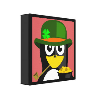 """ST. PATRICK'S DAY"" PENGUIN CANVAS PRINT"