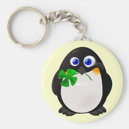 St. Patrick's Day Penguin Keychain
