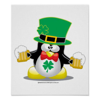 St Patrick's Day Penguin Posters