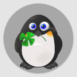 St. Patrick's Day Penguin Round Stickers