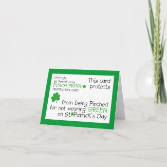 St. Patrick's Day Pinch Protection Card card
