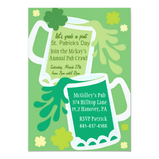 St. Patrick's Day Pints o Beer  Party Invitations
