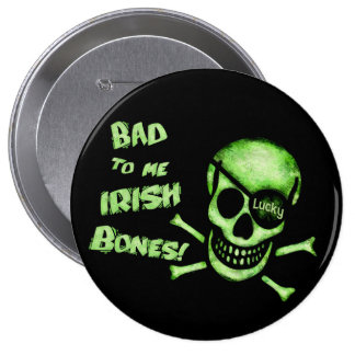 St. Patrick's Day Pirate Skull Button