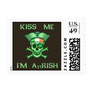 St. Patrick's Day Pirate Skull Postage Stamps