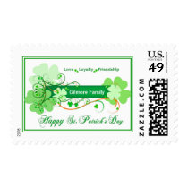 St. Patrick's Day Postage Stamp with Family Name