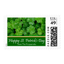 St. Patricks Day Postage Stamp with Family Name