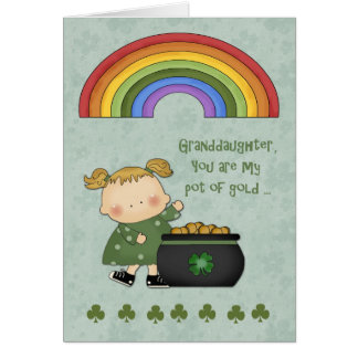 St. Patrick's Day, Pot of Gold, Granddaughter Cards