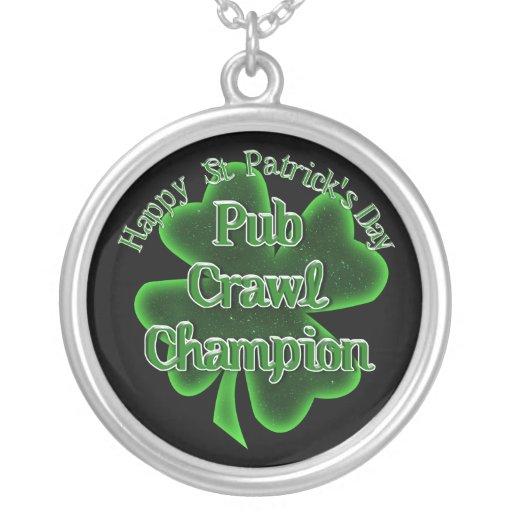 St Patrick's Day Pub Crawl Champion Round Pendant Necklace