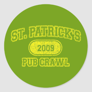 St Patricks Day Pub Crawl Classic Round Sticker