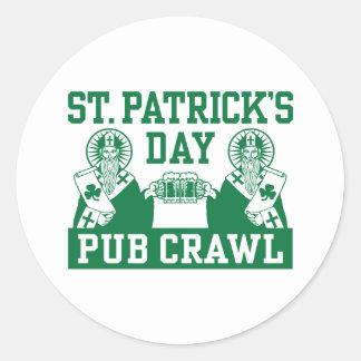 St. Patrick's Day Pub Crawl Classic Round Sticker