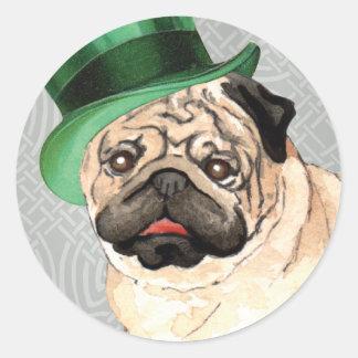 St. Patrick's Day Pug Classic Round Sticker