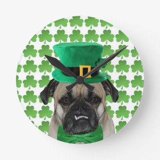 St Patrick's Day Pug Clock