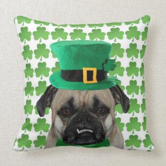 St Patrick's Day Pug Throw Pillow