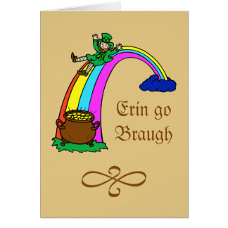 St.-Patrick's Day rainbow pot of gold leprechaun Stationery Note Card