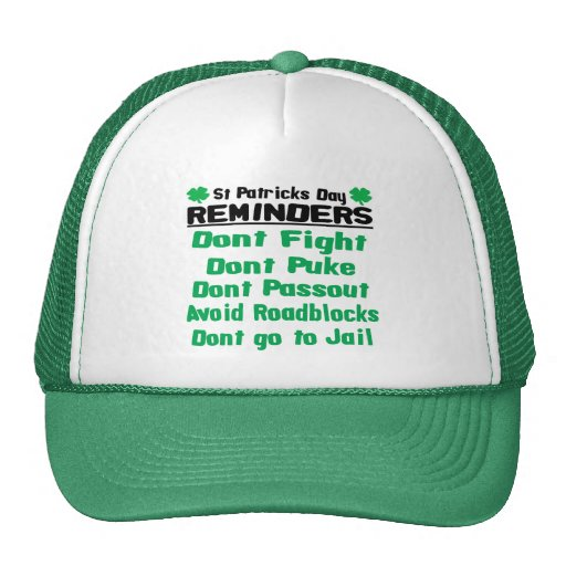 St. Patricks Day Reminders Hat
