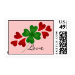 St. Patrick's day romance shamrock and hearts Postage Stamp