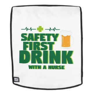 St Patrick's Day Safety First Drink With A Nurse Backpack