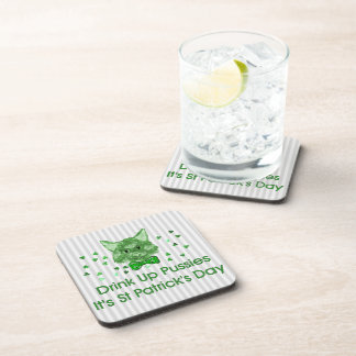 St Patrick's Day Scrapper Cat Drink Coasters