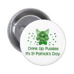 St Patrick's Day Scrapper Cat Pinback Button