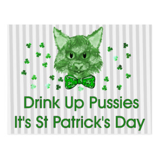 St Patrick's Day Scrapper Cat Postcard