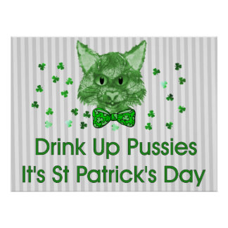 St Patrick's Day Scrapper Cat Poster