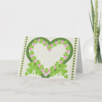 St. Patrick's Day Shamrock and Pink Flowers Wreath Card