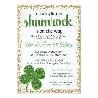 St. Patrick's Day Shamrock Baby Shower Invitation