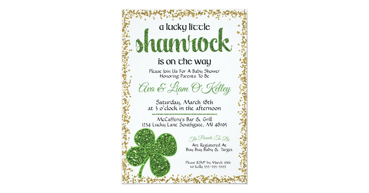 St. Patrick\'s Day Shamrock Baby Shower Invitation | Zazzle.com
