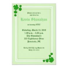 St. Patrick's Day Shamrock Birthday Invitation 5x7 at Zazzle